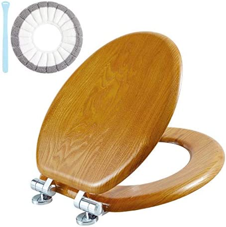 Angel Shield Toilet Seat CoverSlow Close Toilet Lid and Quick Release Hinges Durable Enameled Wood Veneer (ROUND Wood)