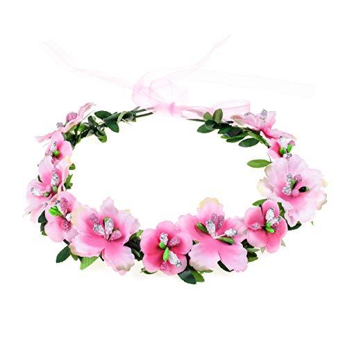 Love Sweety Girls Boho Rose Floral Crown Wreath Wedding Flower Headband Headpiece -