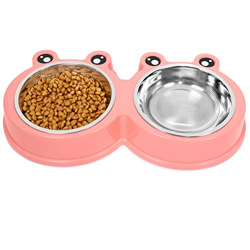 UPSKY Double Cat Bowls Cute Modeling Food Water Feeder No-Slip Stainless Steel Rabbit & Pet Bowls ...