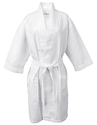 LUXEHOME 100% Cotton Waffle Bathrobe Luxury Weave Waffle Soft Spa Robes for Women and Men, White