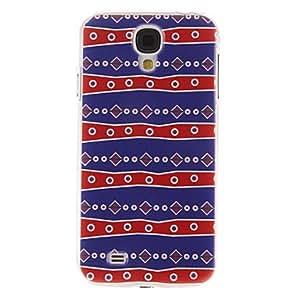 WQQ Patrón de líneas roja y azul de la perla caso de la cubierta protectora dura de plástico para el Samsung Galaxy S4 i9500