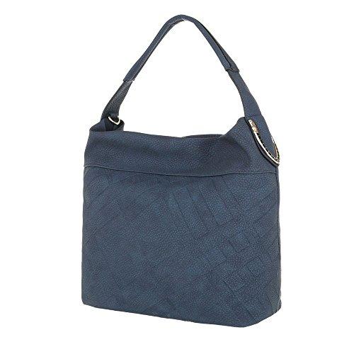 Ital-Design - Bolso al hombro de Material Sintético para mujer Azul