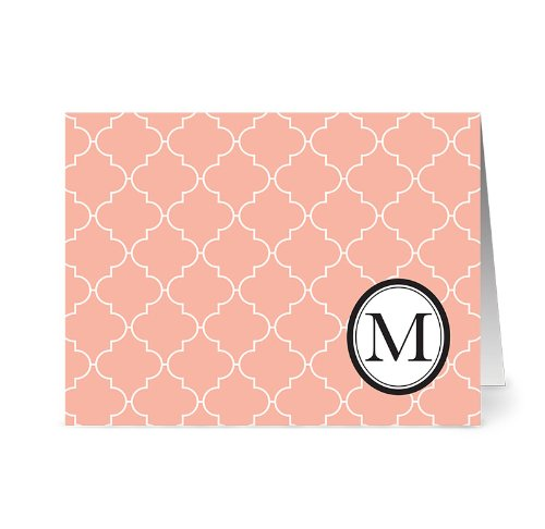 modern-lattice-m-coral-monogram-24-cards-blank-cards-w-grey-envelopes-included