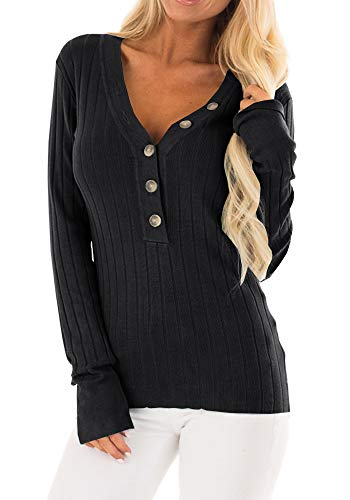 (Dellytop Womens V Neck Henley Shirts Long Sleeve Button Down Ribbed Knit Pullover Sweaters)