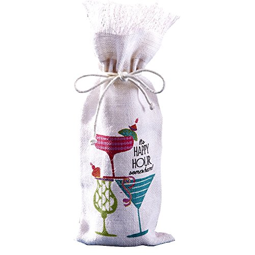 Jute Wine Bottle Bag w Its Happy Hour Somewhere 51009-20-B by Twos Company