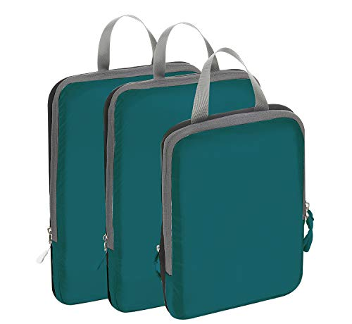 (BAGAIL 3 Set Ultralight Compression Packing Cubes Travel Expandable Packing Organizers (Teal(2M+S)))