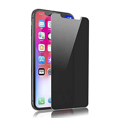 SANFEEL Privacy Tempered Glass for 2017 iPhone X / 2018 iPhone Xs Screen Protector 5.8 Inch, iPhone 10 2way Anti Spy Peeping Film Easy to Install Scratch Proof Fingerprint Free Bubbles