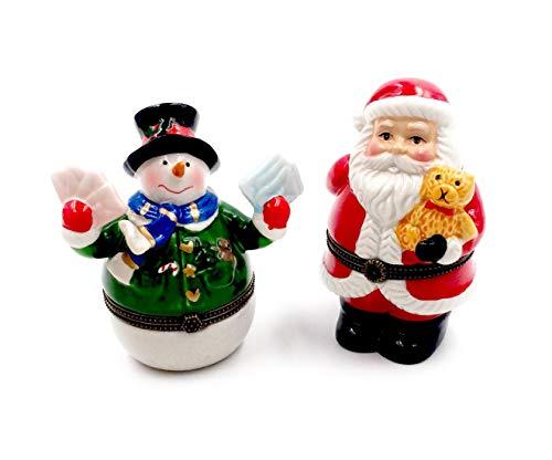 Box Hinged Santa (Santa and Snowman Porcelain Hinged Trinket Boxes (2))
