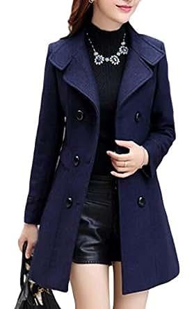 Macondoo Womens Casual Woolen Blend Lapel Collar Double-Breasted Pea Coat Navy Blue XXS