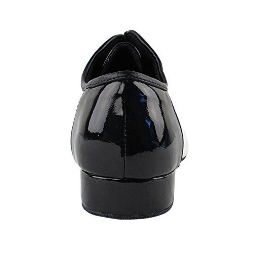 Chaussures De Pigeon Dor 50 Nuances Dhommes Standard 1 Talon Robe Robe De Danse Collection (large Largeur Disponible): Confort Salle De Bal, Standard, Lisse, Latin, Salsa, Theather Art Par Fête Partie 916102 Noir Brevet & Blanc