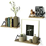 RooLee Floating Shelves Decorative Wall Shelf in Retro Style with Iron and Wood Storage Display Book Shelf Set of 3
