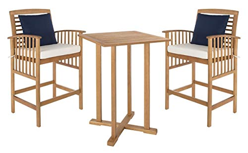 Safavieh PAT7043A Outdoor Collection Pate Teak and White 3 Pc 39.8