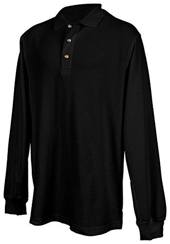 Tri Mountain Mens 60 40 Pique Long Sleeve Golf Shirt  608   Black 4Xl