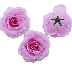 Silk Flowers Wholesale 100 Artificial Silk Rose Heads Bulk Flowers 10cm for Flower Wall Kissing Balls Wedding Supplies (Lavender)