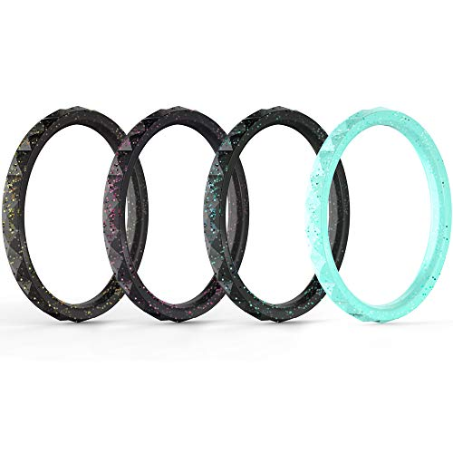 ThunderFit Thin and Stackable Silicone Rings, 4 Pack Silicone Wedding Bands for Women - Diamond Pattern ()