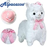 Alpacasso 17'' White Plush Alpaca, Cute Stuffed Animals Toy, Best Gifts for Kids.