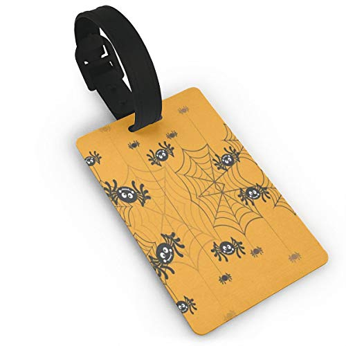 Luggage Tags Halloween Spider Web Yellow Airplane Name Tag Holder Labels]()