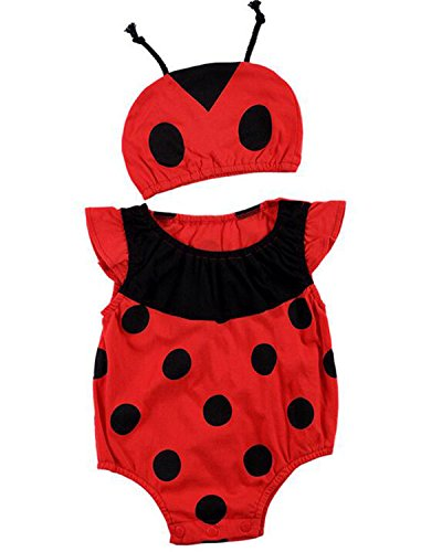 Kidsform Baby Unisex Bodysuit Animal Costume for Boys Girls Cartoon Short Sleeve Onesie with Hat Ladybug 3-6M -