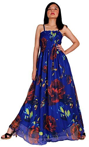 MayriDress Women's Maxi Dress On Sale Plus Size Clothing Sexy Party Dress Up Idea (2X-Long 57 inch, Blue/ Red (Hippie Dress Up)
