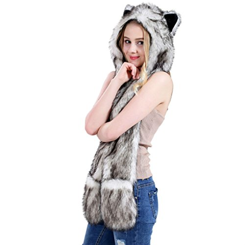 Wolf Anime Faux Animal Hood Hoods Mittens Gloves Scarf Spirit Paws Ears Zipper Pocket