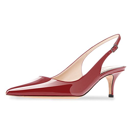 Low Slingback Kitten Wedding UMEXI Leather Heel Burgundy Party Heel Pumps Patent Women Shoes Dress XwAxT