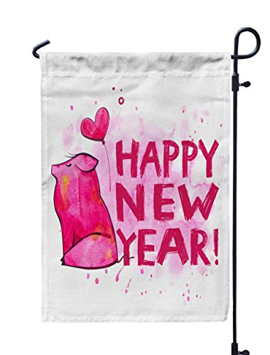 Shorping Welcome Garden Flag, 12x18Inch Cute Pig Creative New Year Symbol The Year in Chinese Calendar Isolated Watercolor for Holiday and Seasonal Double-Sided Printing Yards Flags (Best Restaurants In Buffalo 2019)