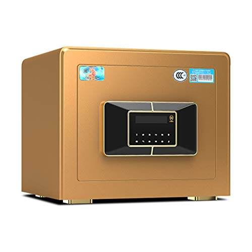 Safes/Wall Safes Safe Home All Steel Small Smart Anti-Theft Fingerprint Safe Office Supplies (Color : Gold, Size : ()