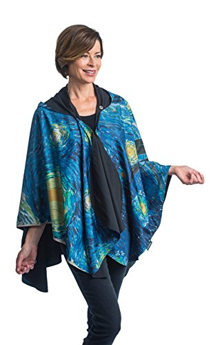 RainCaper Rain Poncho for Women - Reversible Rainproof Hooded Cape in Gorgeous Famous Artist Designs (Museum - Van Gogh Starry Night)