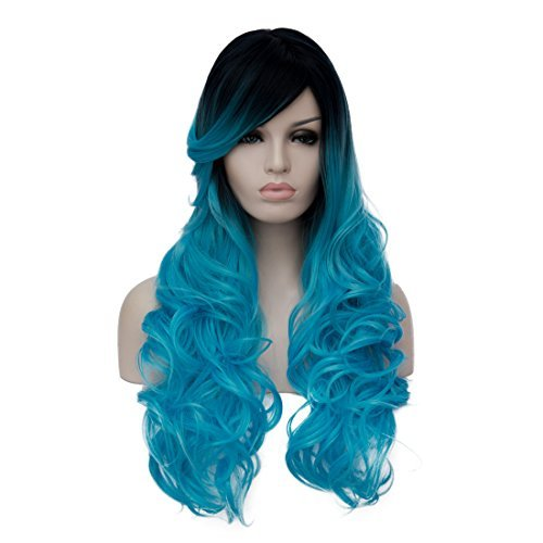 Oyixu 70cm 27 5 Black Blue Ombre Lolita Party Cosplay Natural Curly Long Hair Wig