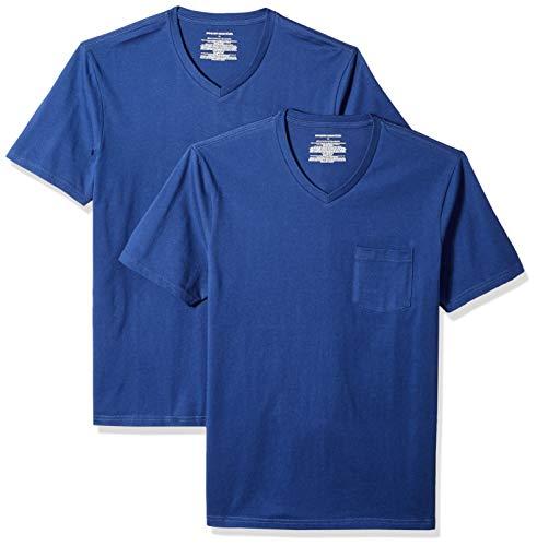 - Amazon Essentials Men's 2-Pack Slim-Fit V-Neck Pocket T-Shirt, Blue, XX-Large