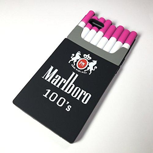 蓋恐れなだめるMarlboroマールボロ シリコンケース ブラック ピンク【各種iPhone対応】 (iPhoneX用, ブラック×ピンク)