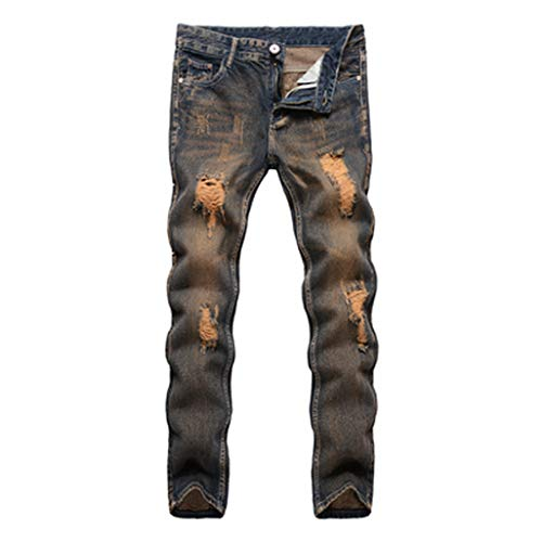 (dreamering Men Slim Fit Long Denim Pants Male Straight High Stretch Skinny Jeans Military Hole Full Trousers(36,Khaki))