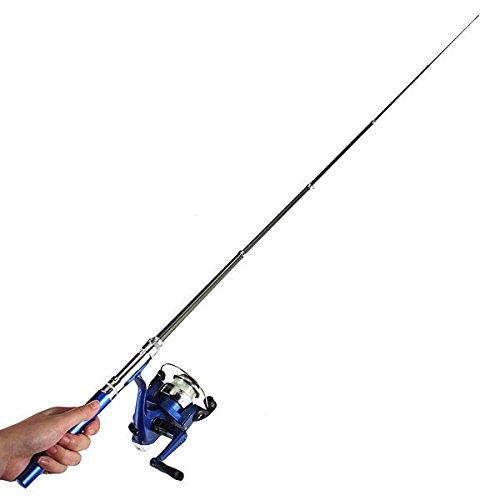 Mini Teleskop-bewegliche Taschen-Feder Angelrute Reel Nylonlinie Set Blau QCIoDrwPt