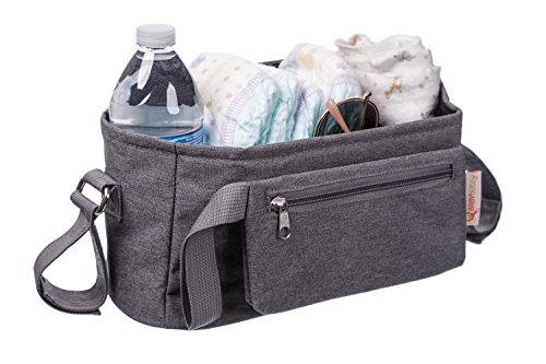 Baby Stroller Organizer by BabyBubz - Premium New Sleek Design - Durable Cup Holders - Universal Fit - tons of Storage for Phones, Keys, Diapers, Baby Toys, Snacks, Accessories - Best Shower Gift by BabyBubz