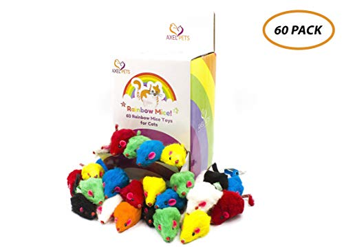 AXEL PETS 60 Rainbow Mice with Catnip and Rattle Sound Made of Real Rabbit Fur Interactive Catch Play Mouse Toy for Cat, Box of 60 Mice