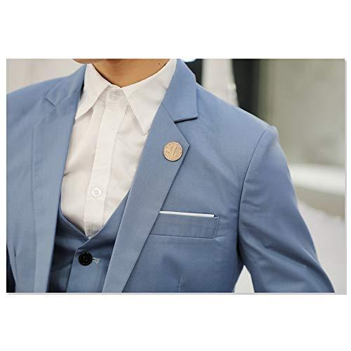 Fit Hommes Costume Blazer b2 Veste Pour Dazisen Fête Élégante Slim Affaires De Bleu Clair Ow8xqwX