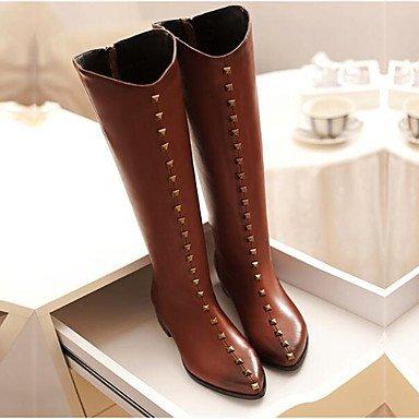 Slouch 5 CN37 nubuck 5 de botas Moda planas RTRY UK4 Casual botas Zapatos botas de Invierno de rodilla Botas US6 mujer Marrón cuero talón Negro altas 5 para 7 EU37 zCzvwfpqx