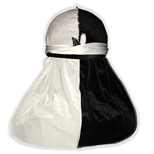 Two Tone Velvet Du-RAG -Premium Quality- Wave Cap-Durag 360 Waves Extra Long and Wide Straps- (Black)