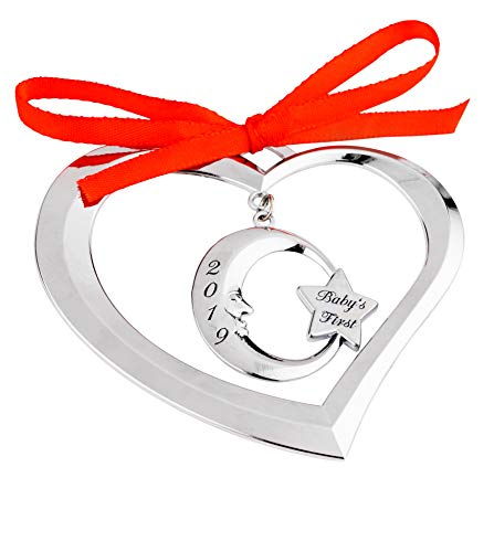 Holiday Jingles Baby's First Christmas Ornament 2019 | Nickel-Plated Heart Moon Photo Ornament for Newborn Boys and…