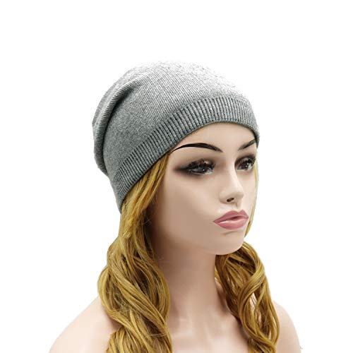(Wheebo Beanie Hat Cashmere Stretch Skull Ski Cap for Women Men -Winter Knit Hat Solid Color Unisex Style Gray)