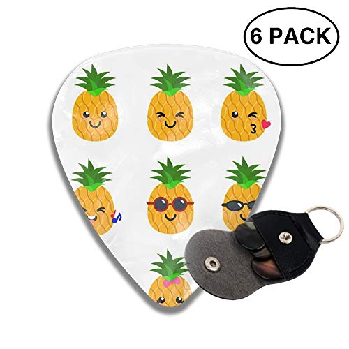 Guitar Picks Pineapple Clipart Printable Celluloid Plectrum Thin Medium Heavy Bass 3D Printed Variety Pick Mini Music Gift Grip -6pcs