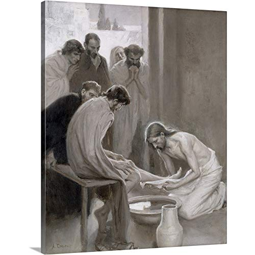 "Jesus Washing The Feet of his Disciples, 1898"" Canvas Wall Art Print, 11""x14""x1.25"""