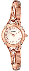 "GUESS Women's U0135L3 ""Petite Embellished Crystal"" Rose Gold-Tone Watch"
