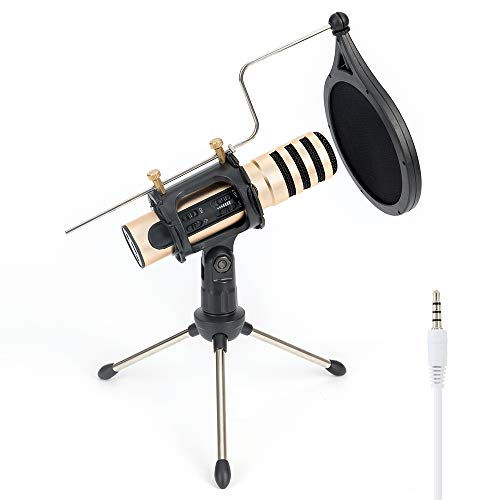 Studio Recording Microphone with Built-in Sound Card, Condenser Broadcast Microphone with Tripod Stand for Chatting/Skype/YouTube/Recording