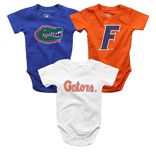 Wes and Willy Infant University of Florida Gators Bodysuits 3 Pack Organic Cotton Set