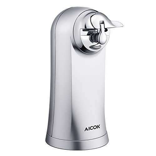 Aicok Electric Can Opener Smooth Touch Can Opener Stainless Steel, Can Opener, Knife Sharpener, Bottle Opener 3 in 1, Extra Height