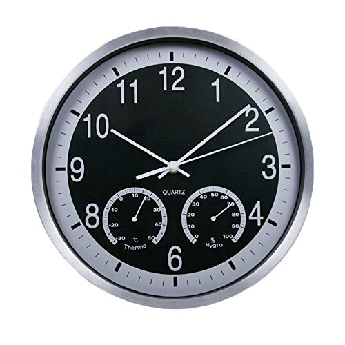 Justup Wall Clock with Temperature & Humidity, 12inch Non-Ticking Battery Operated Large Decorative Wall Clock with Metal Case HD Glass for Indoor Kitchen Living Room Bedroom Office Decor (Black)