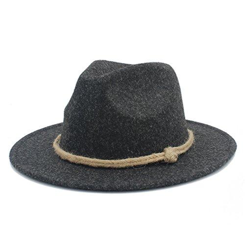 Hemp Wool Hat - Battle Men Women's Retro Wool Felt Hat Men's Wide Brim Fedora Hemp Rope Decor ( Color : 6 , Size : 57-58CM )