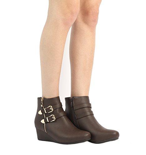 DREAM PAIRS Damen Niedrige Keilabsatz Ankle Booties Braun-g