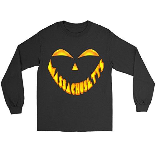 Massachusetts Jack O' Lantern Pumpkin Face Halloween Costume Long Sleeve Tee Shirt, 3XL